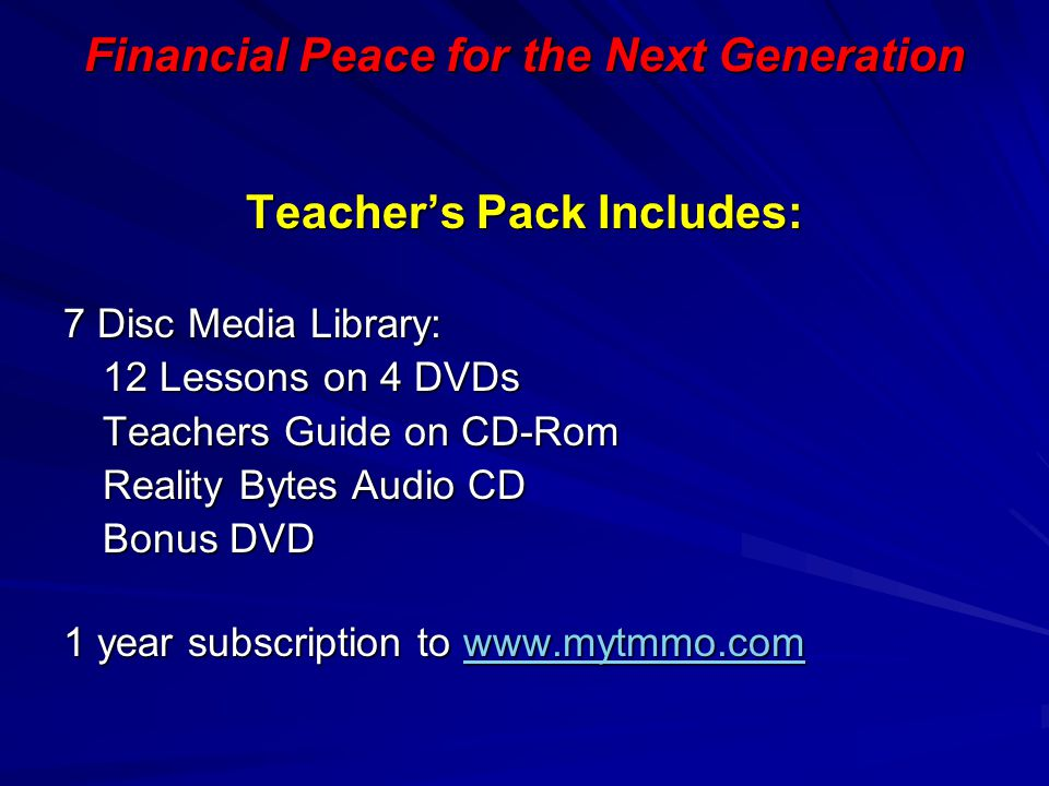 Financial Peace for the Next Generation Teacher's Pack Includes:
