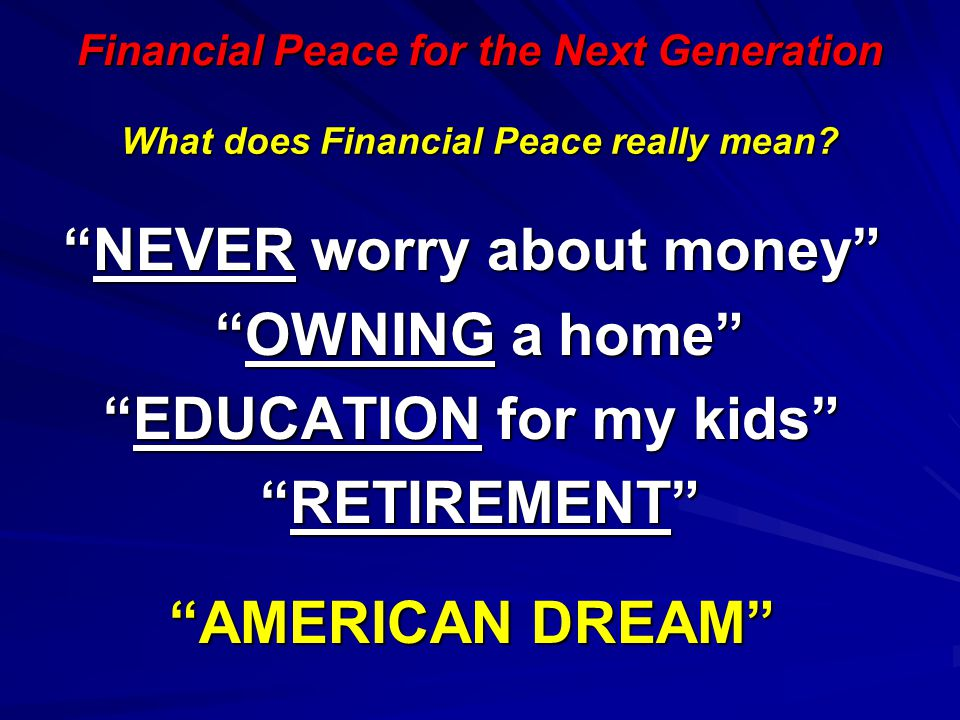 What does Financial Peace really mean