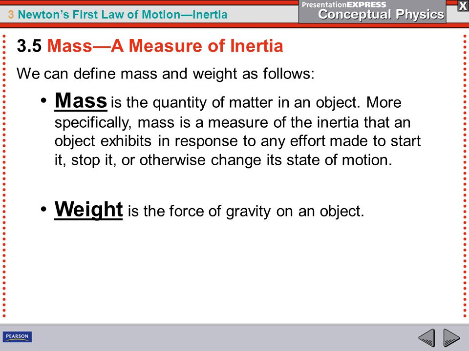 Weight is the force of gravity on an object.