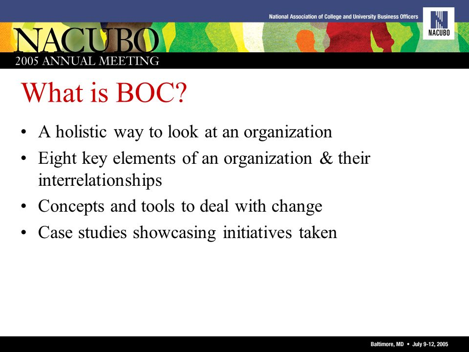 What is BOC A holistic way to look at an organization