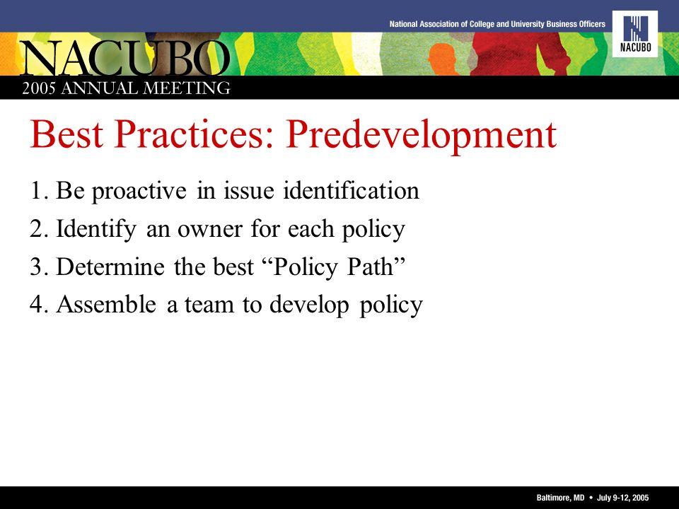 Best Practices: Predevelopment
