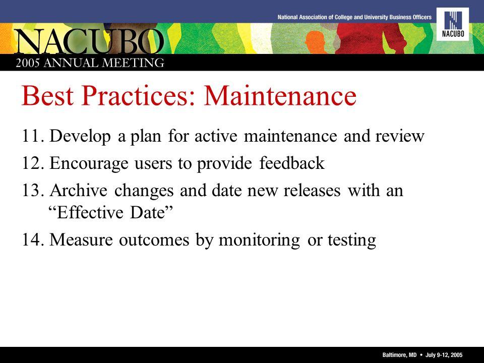 Best Practices: Maintenance