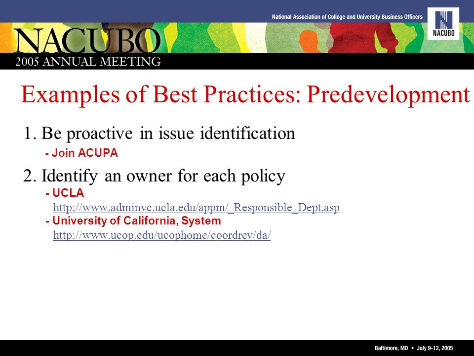 Examples of Best Practices: Predevelopment
