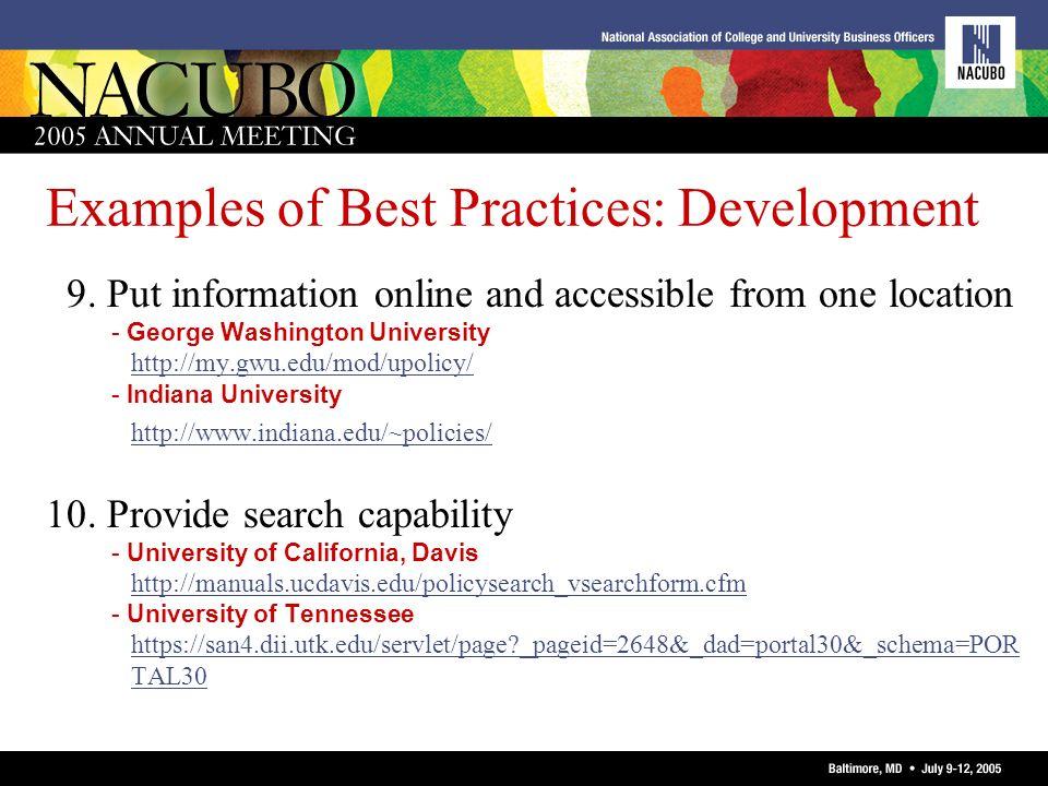 Examples of Best Practices: Development