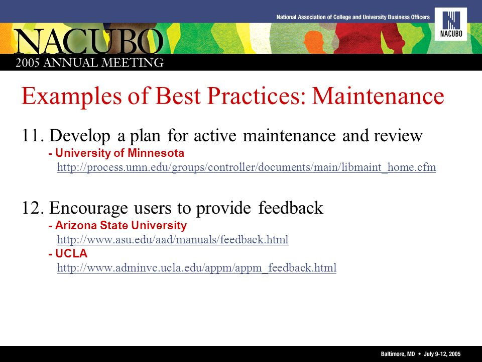 Examples of Best Practices: Maintenance