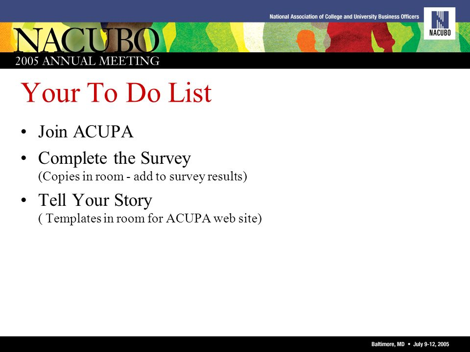 Your To Do List Join ACUPA