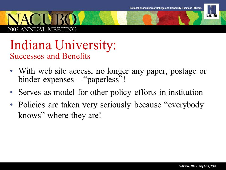 Indiana University: Successes and Benefits