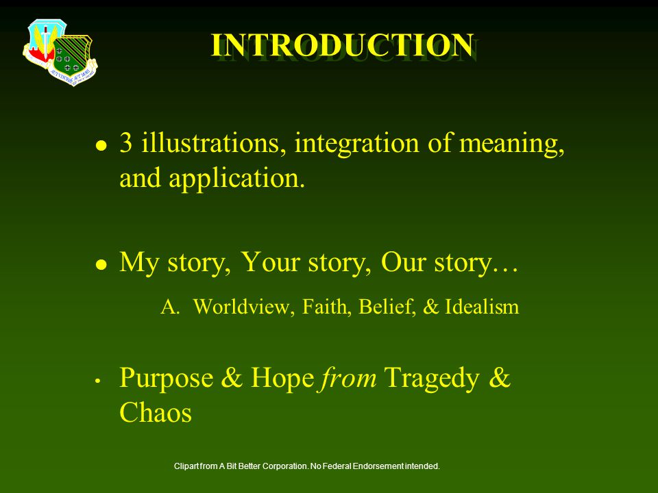 INTRODUCTION 3 illustrations, integration of meaning, and application.
