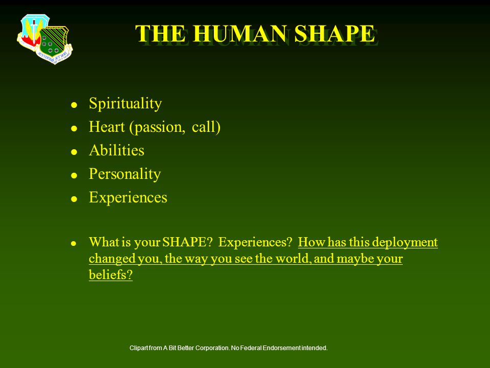 THE HUMAN SHAPE Spirituality Heart (passion, call) Abilities