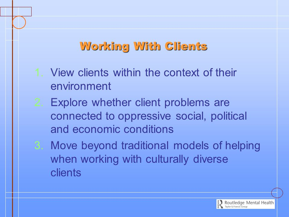 Working With Clients View clients within the context of their environment.