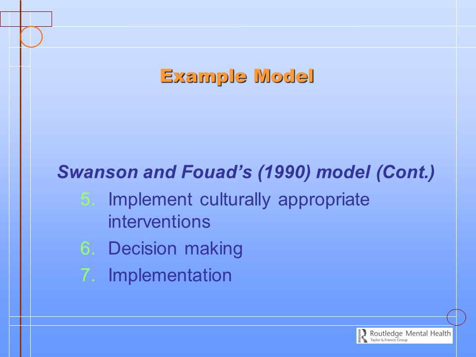 Example Model Swanson and Fouad's (1990) model (Cont.) Implement culturally appropriate interventions.