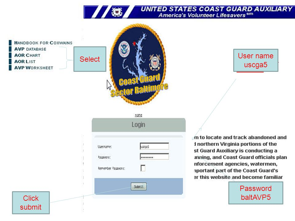 User Name uscga5 Select User name uscga5 PASSWORD baltAVP5
