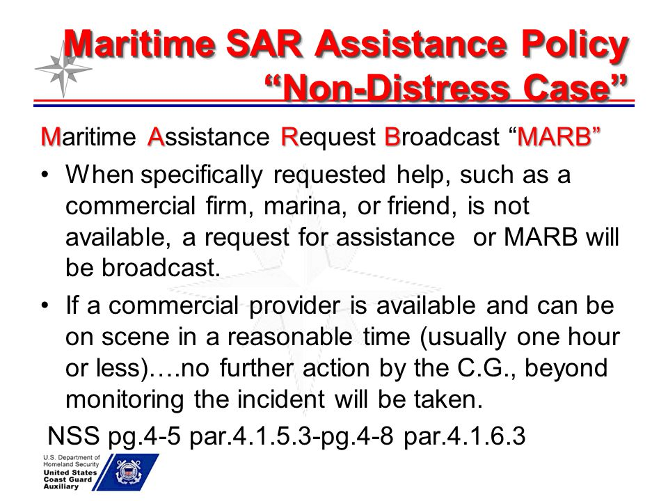 Maritime SAR Assistance Policy Non-Distress Case