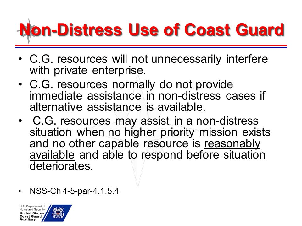 Non-Distress Use of Coast Guard