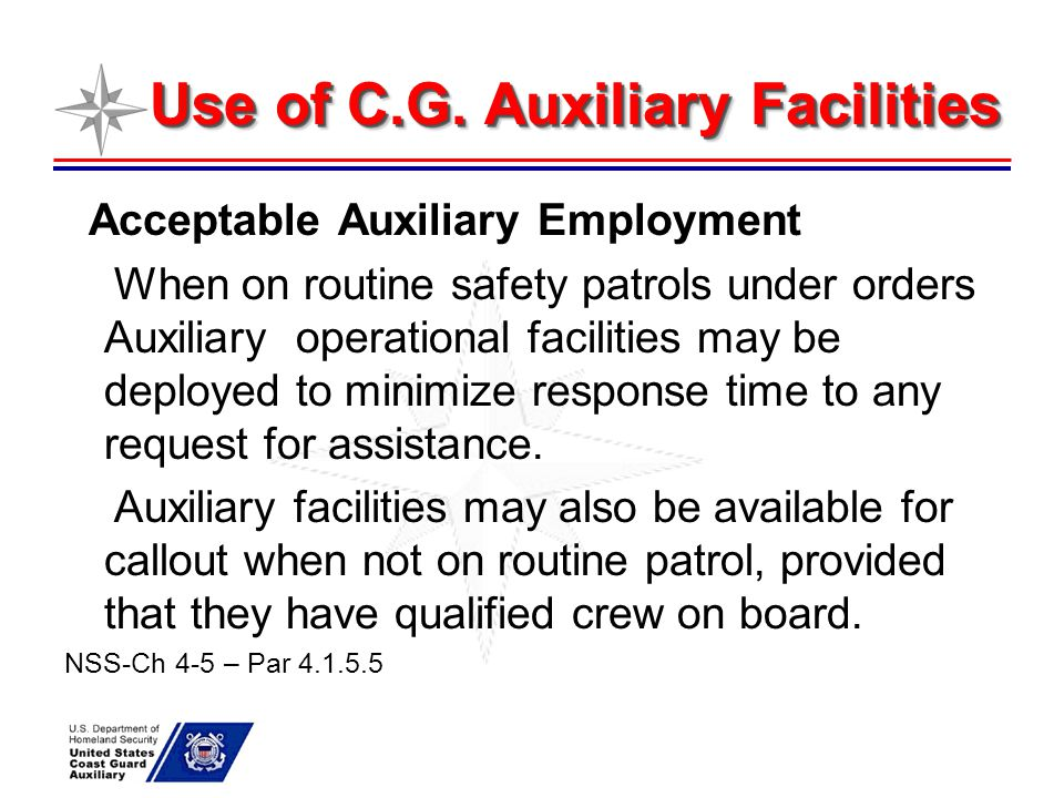 Use of C.G. Auxiliary Facilities