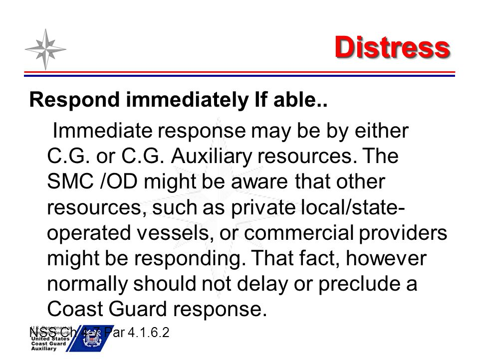 Distress Respond immediately If able..