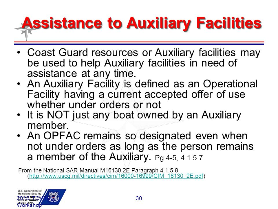 Assistance to Auxiliary Facilities