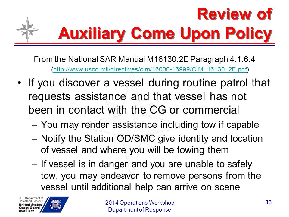 Review of Auxiliary Come Upon Policy