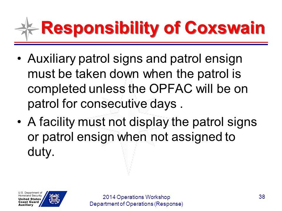 Responsibility of Coxswain