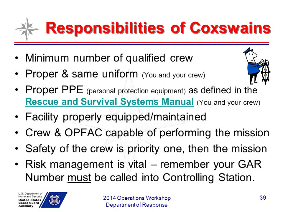 Responsibilities of Coxswains