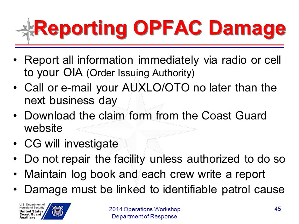 Reporting OPFAC Damage
