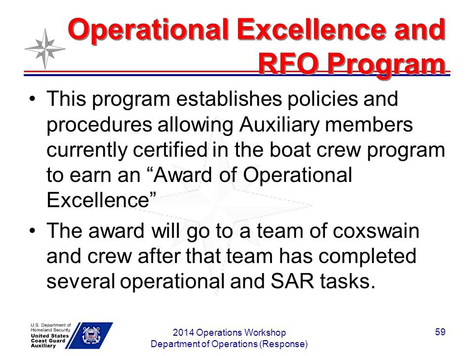 Operational Excellence and RFO Program