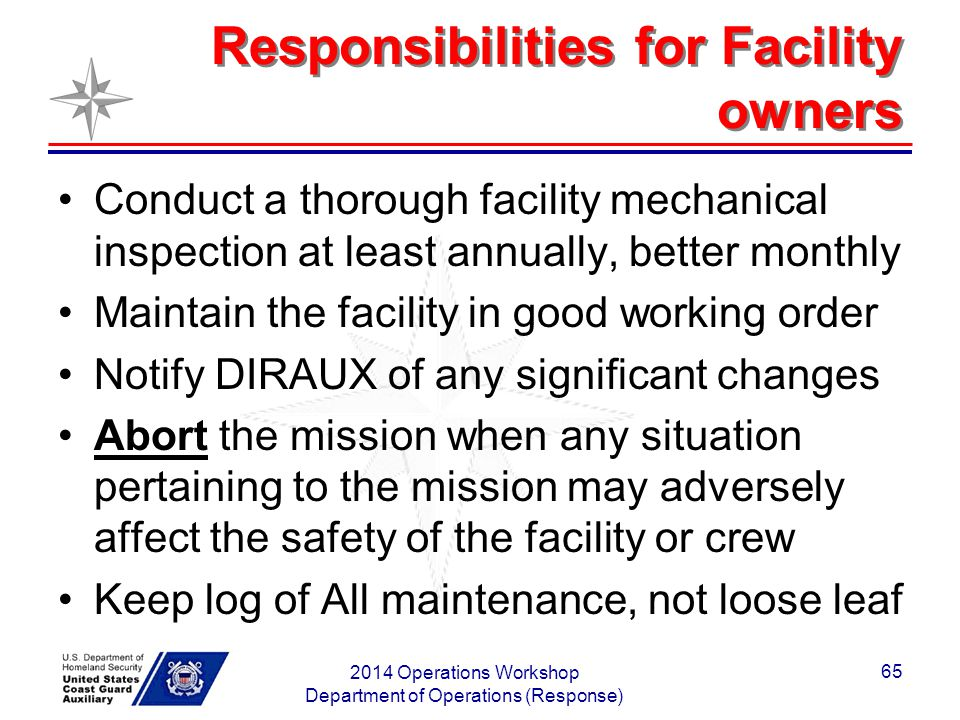 Responsibilities for Facility owners