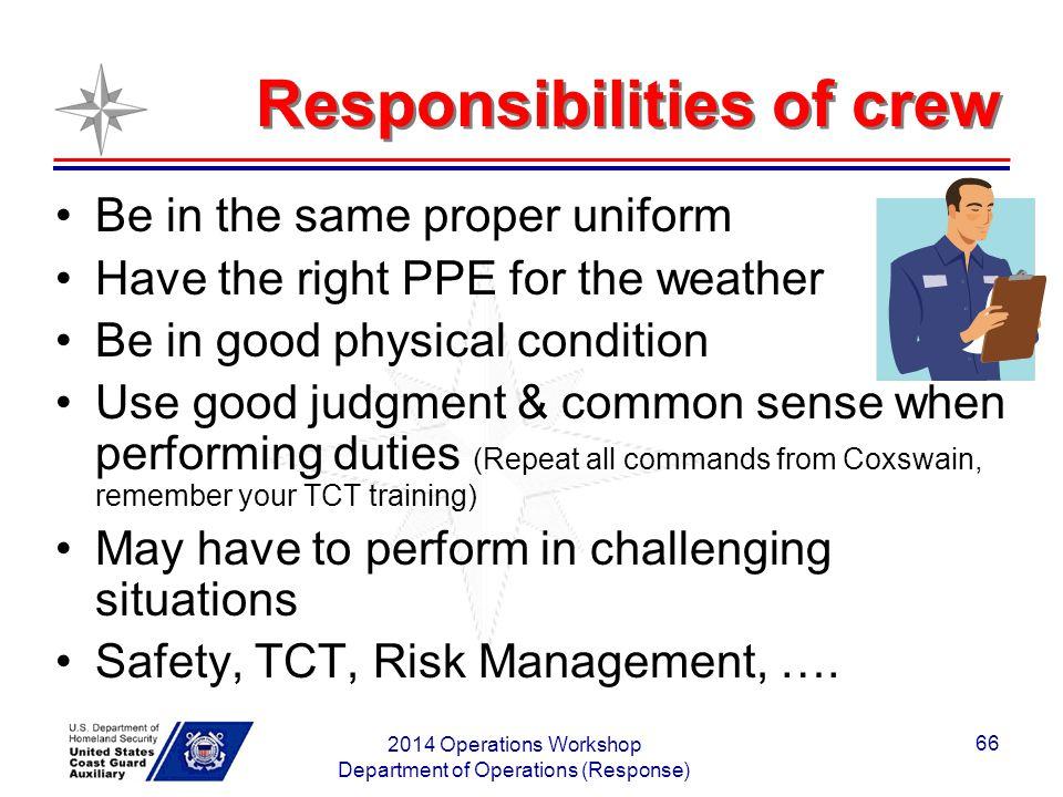 Responsibilities of crew