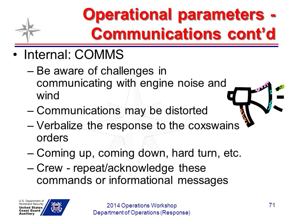 Operational parameters - Communications cont'd