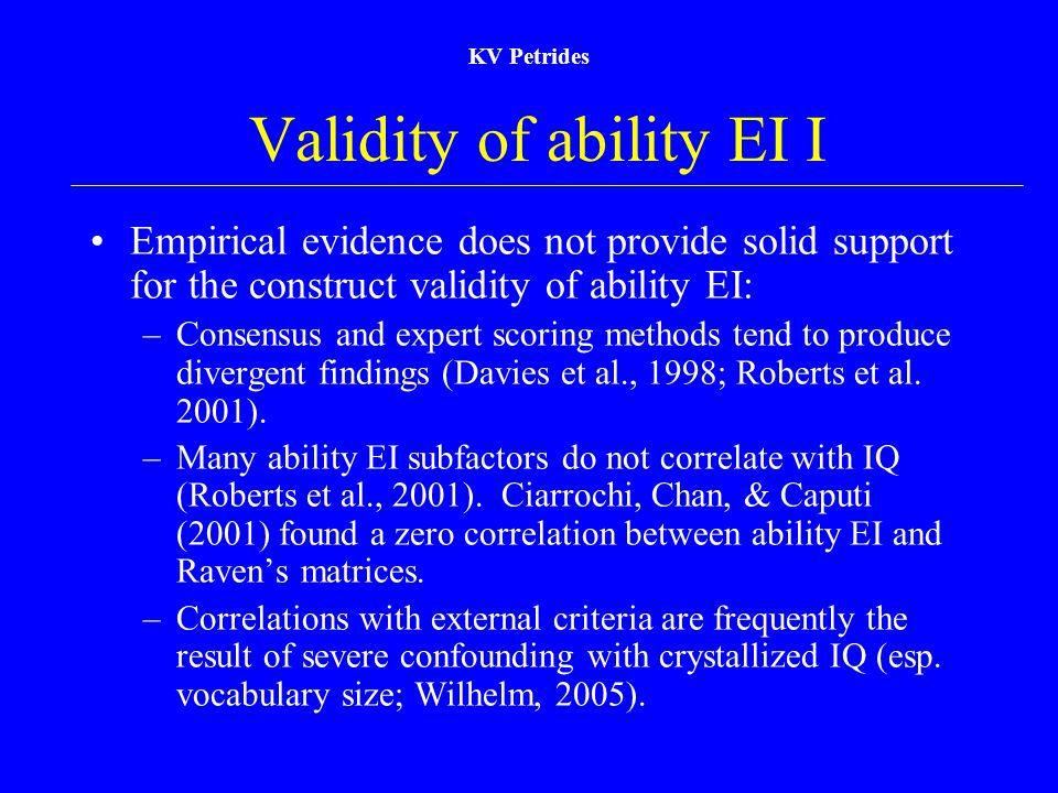 Validity of ability EI I