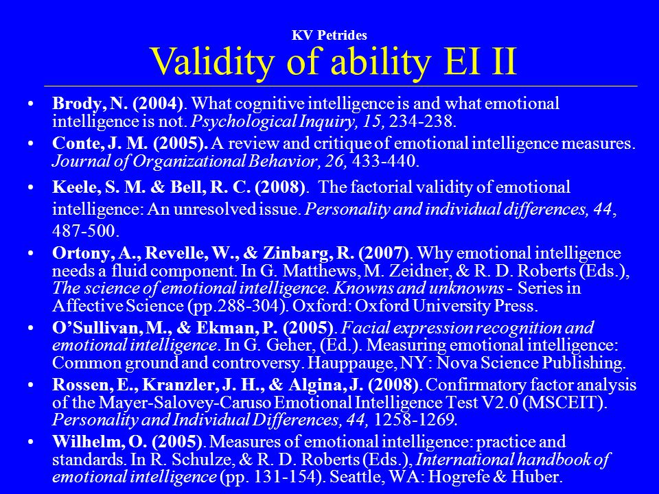 Validity of ability EI II