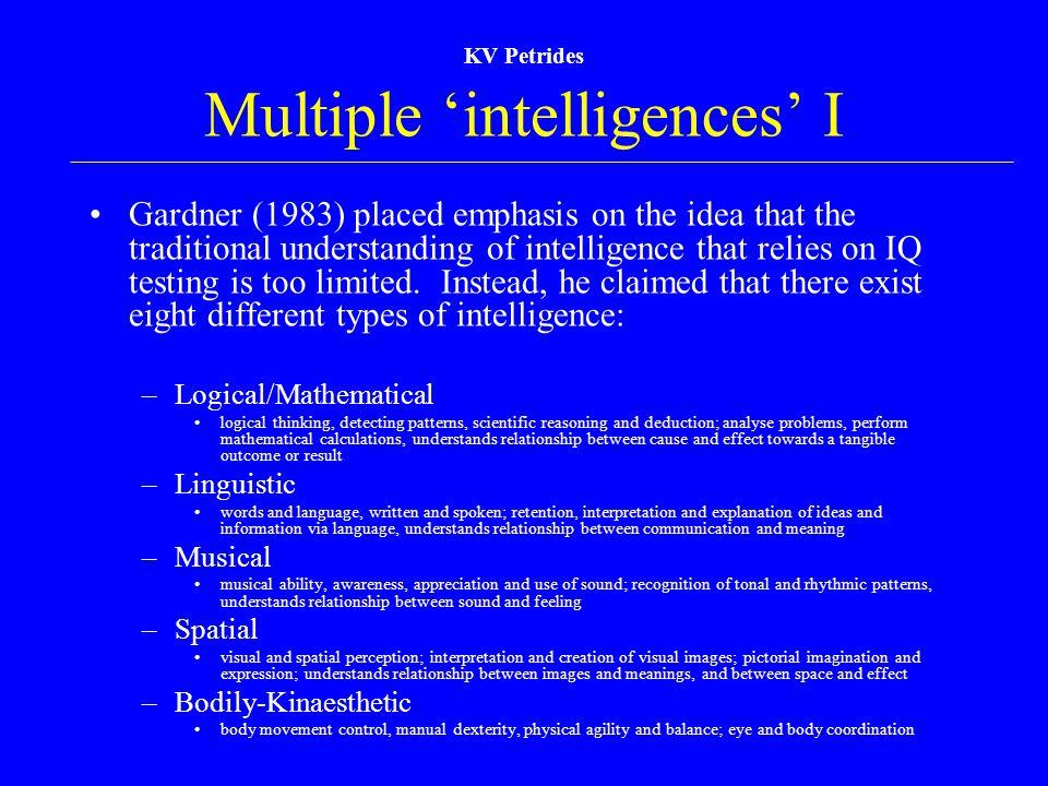Multiple 'intelligences' I
