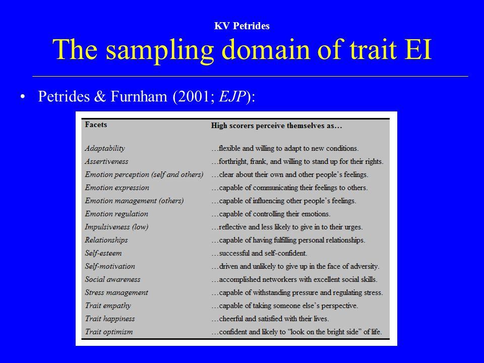 The sampling domain of trait EI