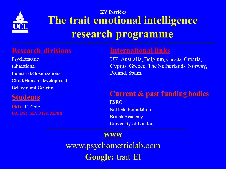 The trait emotional intelligence research programme