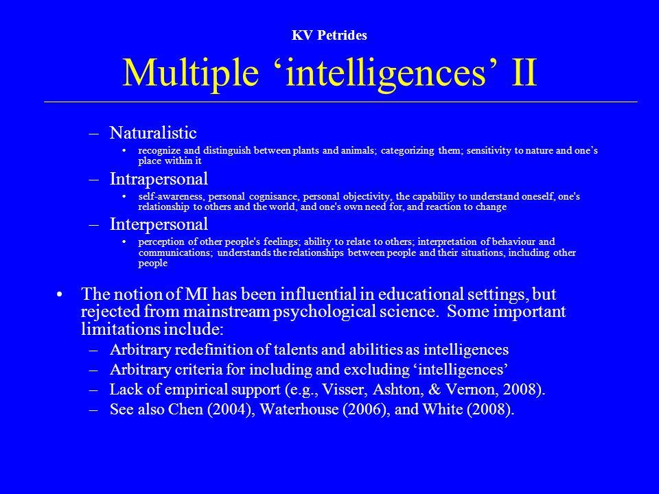 Multiple 'intelligences' II