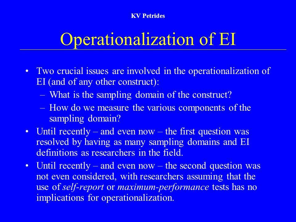Operationalization of EI