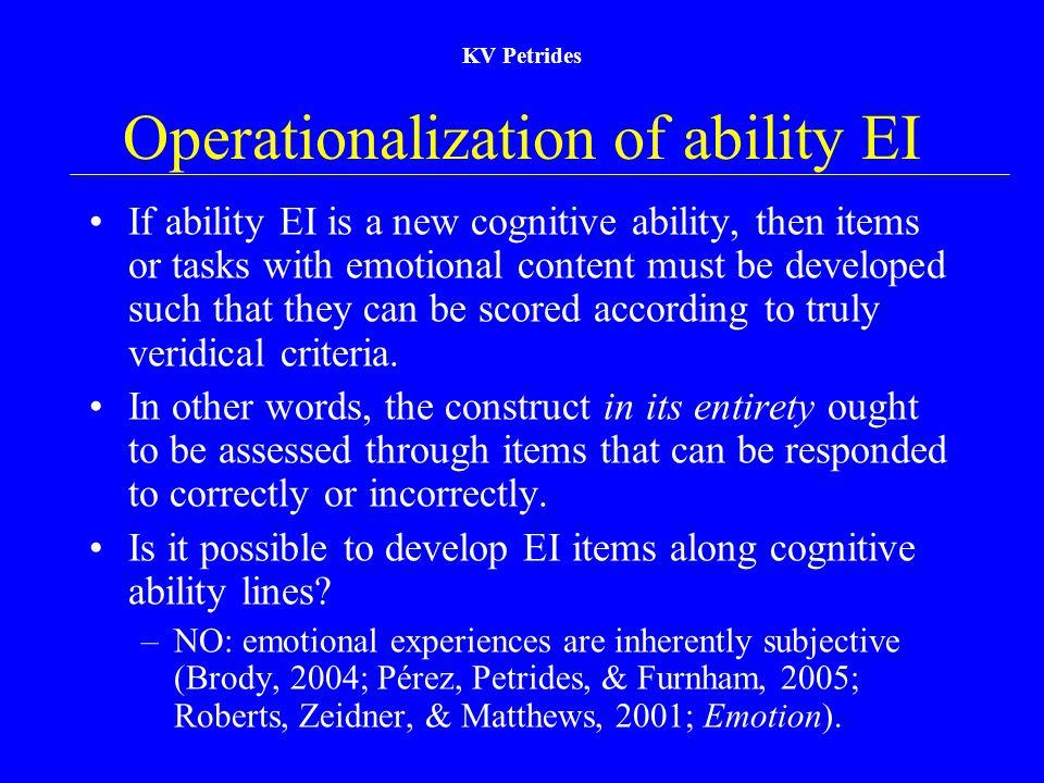 Operationalization of ability EI