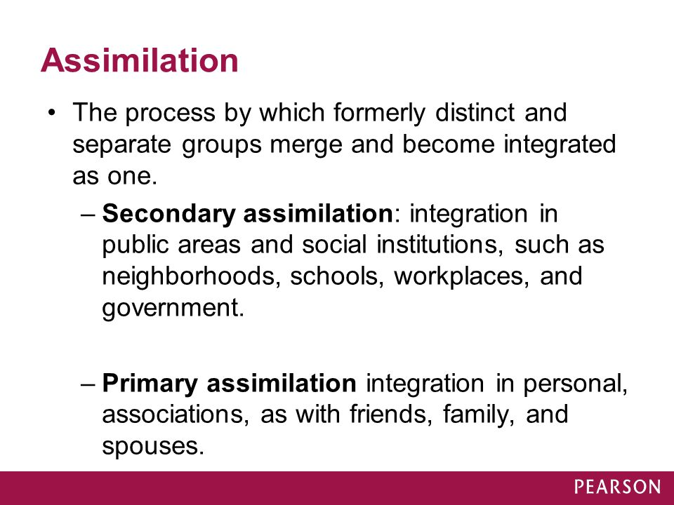 Assimilation The process by which formerly distinct and separate groups merge and become integrated as one.