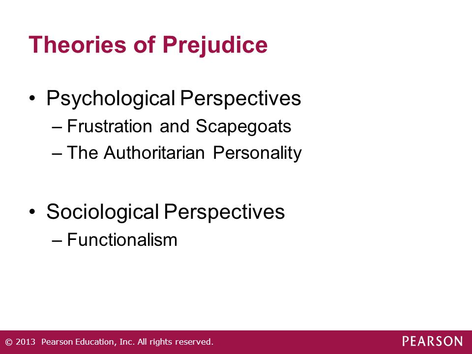 Theories of Prejudice Psychological Perspectives