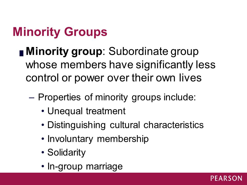 Module 31 Minority Groups. Minority group: Subordinate group whose members have significantly less control or power over their own lives.