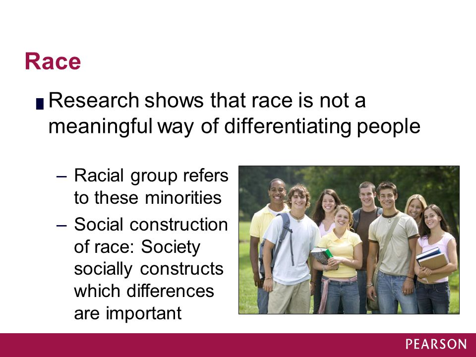 Module 31 Race. Research shows that race is not a meaningful way of differentiating people. Racial group refers to these minorities.