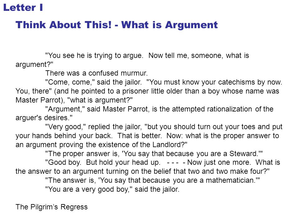 Think About This! - What is Argument