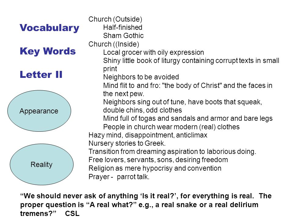 Vocabulary Key Words Letter II Appearance Reality