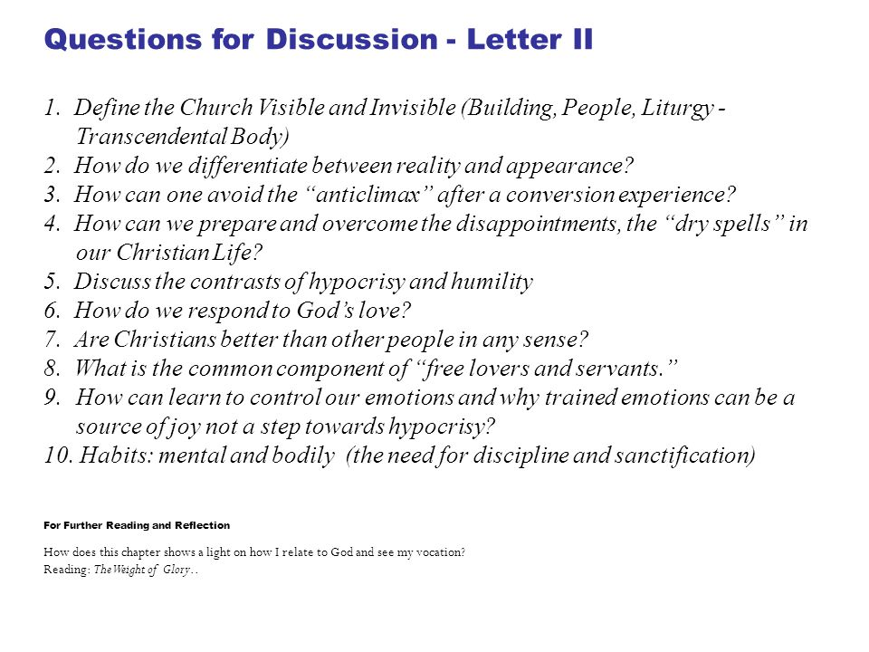 Questions for Discussion - Letter II