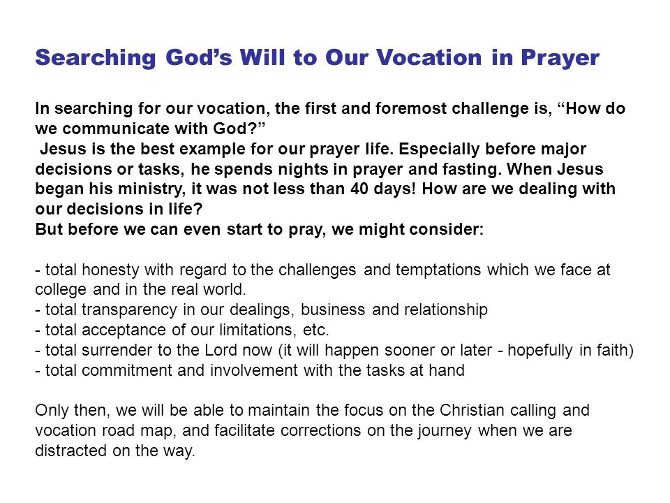 Searching God's Will to Our Vocation in Prayer