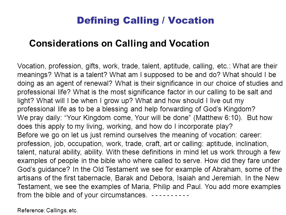 Defining Calling / Vocation