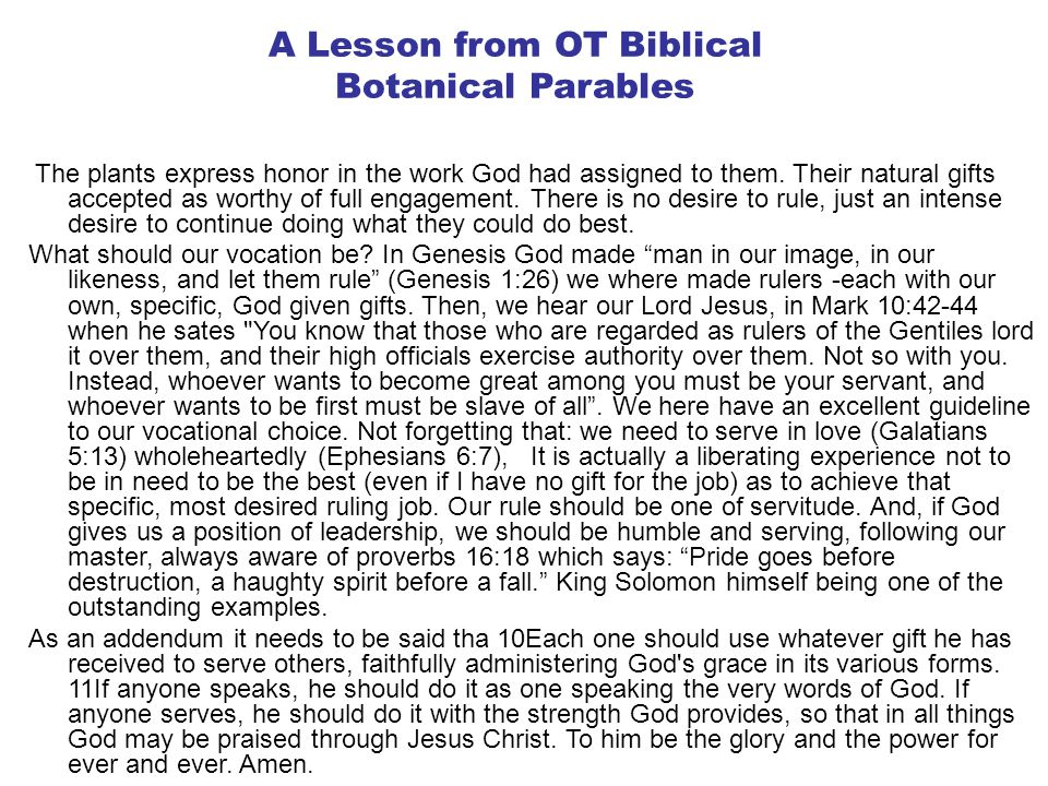 A Lesson from OT Biblical Botanical Parables