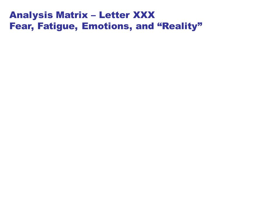 Analysis Matrix – Letter XXX Fear, Fatigue, Emotions, and Reality
