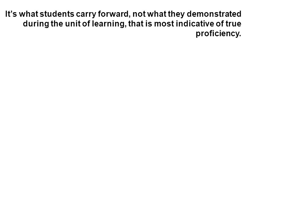It's what students carry forward, not what they demonstrated during the unit of learning, that is most indicative of true proficiency.