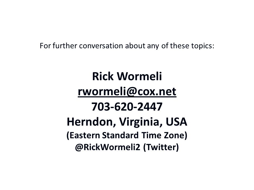 For further conversation about any of these topics: